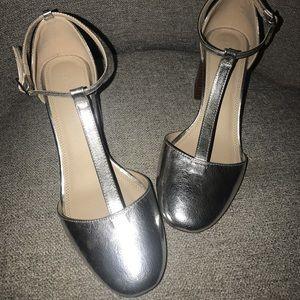ASOS shoes silver t strap block heel
